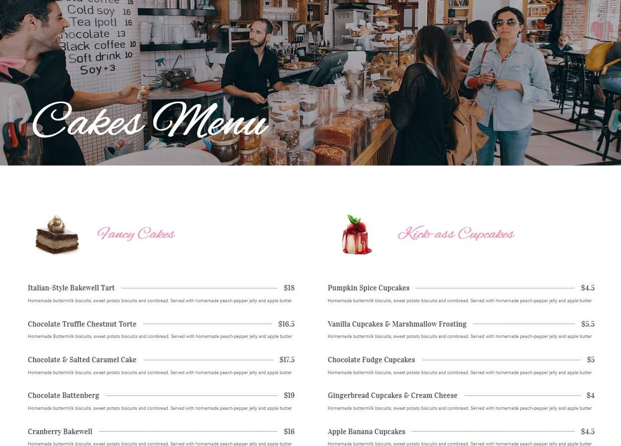 web design cake shop menu; web designer cake shop menu; website design cake shop menu; website designer cake shop menu